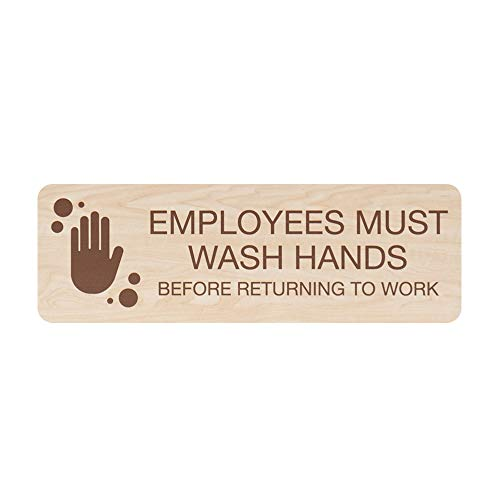 SBLABELS Employees Must Wash Hands Indoor Easy Adhesive Mount Door and Wall Sign for Restaurants and Small Businesses 3' x 9' - Maple