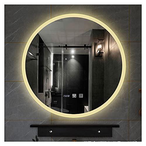 SAKLHDOQ Espejo Redondo de baño con iluminación LED, Montaje en Pared, Espejo de Maquillaje con Sensor táctil, antivaho, Reloj Digital