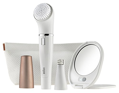 Braun FaceSpa SE 831 (Japanese Version) Facial Epilator and Facial Cleansing Brush Including Mirror and Beauty Pouch