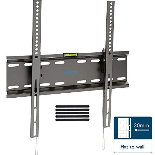 *BONTEC TV Wandhalterung Neigbare Halterung Ultraslim Universal für 23-55 Zoll Flach&Curved LCD LED PLASMA Fernseher bis zu 45kg, Max.VESA 400×400, mit Federverriegelungssystem inkl. 5 Klettverschlüsse*