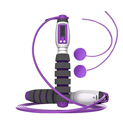 Skipping Rope,With Digital Counter Weighted Ropeless Handle Jumping Ropes for Children Adults Women Indoor Outdoor Sports Weight Loss Exercise (E, One Size)