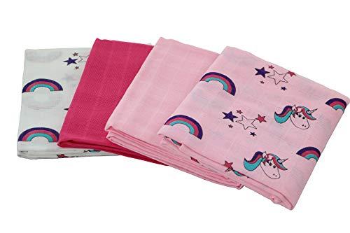 lia Mullwindeln 4er Pack/Spucktücher / 80x80cm Moltontücher aus 100% Baumwolle/doppelt gewebt/schadstoffgeprüft Ökotex Standard 100 (Rosa)
