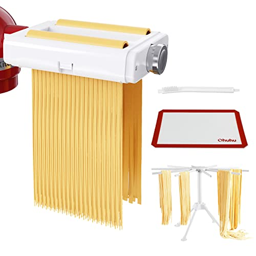 Pasta Maker Attachment for Kitchenaid Mixer, Ohuhu 3 in 1 Pasta Machine with Pasta Drying Rack, Dough Rolling Mat, Cleaning Brush, Mixer Accessories Pasta Roller, Fettuccine Cutter, Spaghetti Cutter