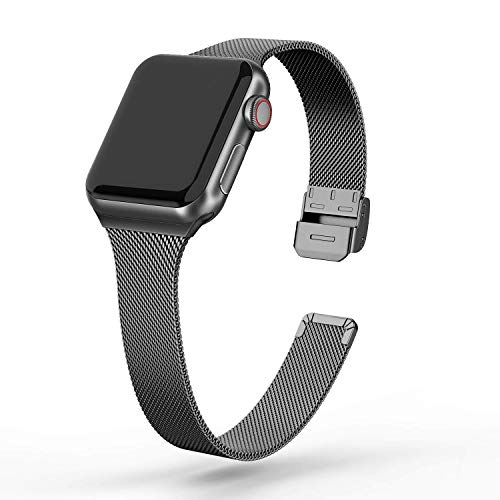 FRESHCLOUD コンパチブル apple watch バンド 38mm 40mm アップルウォッチバンド ミラネーゼループ コンパチブルアップルウォッチ ステンレス留め金製 iwatch series5 4 3 2 1に対応 軽量モデル 交換ベルト(ブラック)