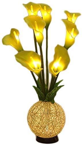 N/Z Life Equipment Estilo Pastoral Chino Simulación Led Calla Lily Linterna pequeña Flor Creativa Decoración de la habitación del hogar Lámpara de Mesa 18 * 65Cm