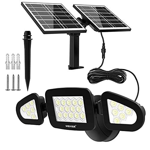 Luz Solar Exterior, MEIKEE 3 Cabezas Lampara Solar Exterior 26 LED Lente Pequeña IP66 Impermeable 6000K Luz Blanco Frío Cable 5 m Foco Solar de Seguridad Iluminación para Garaje Patio y Jardín