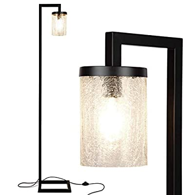 Brightech Henry - Industrial Floor Lamp with Hanging Crackled Glass for Living Room - Standing Farmhouse Light Matches Rustic Decor - Tall Pole Vintage Lamp with LED Bulb - Black