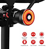 Padonow Smart Bike Tail Light: Auto On/Off Flashing Lights Red Back Led Warning Flashlight Easy Mount Cycling Safety Warning Taillight USB Rechargeable Ultra Bright Light Sensing Bicycle Rear Light