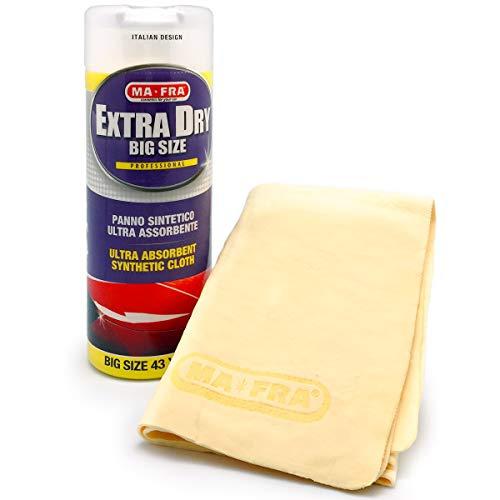 Mafra, Extra Dry, Panno Scamosciato Sintetico, per Carrozzeria e Vetri Esterni dell'Auto, con Elevata Assorbenza e Resistenza all'Usura, non Lascia Aloni, Dimensioni 43x32cm