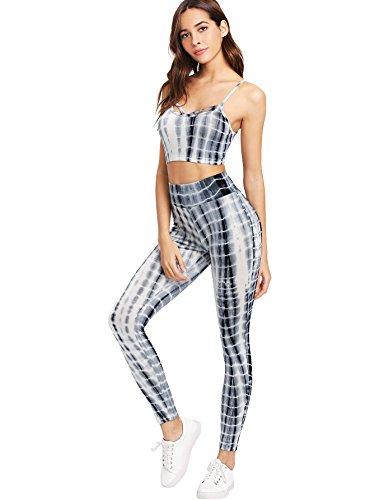 SweatyRocks Women's Two Piece Outfits Tie Dye Crop Top Leggings Set Tracksuit Multicolour M
