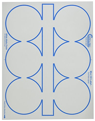 Compulabel 312827 White Full Face Mini CD Labels for Laser and Inkjet Printers, 3.06 inch, Permanent Adhesive, 6 Per Sheet, 100 Sheets per Carton