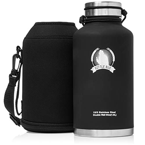 Bottle Bud Insulated Beer Growler - Keeps Beer Carbonated and Cold for More Than 24 Hours - Keeps Drinks Hot for 12 Hours - Leak Proof Lid, Neoprene Carry Case - Stainless Steel Growler for Beer 64 oz