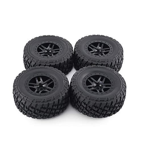 Ballylelly 4 stücke 110mm Felge Gummi Reifen Rad Set Kit Ersatzteile Zubehör für Traxxas Slash 4X4 RC4WD HPI HSP Crawler Automodell