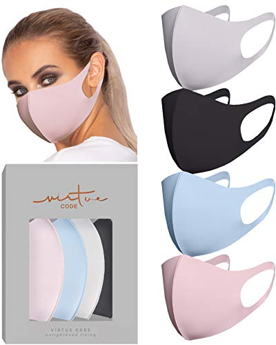 Second Skin Fabric Mask by VIRTUE CODE Fabric Face Mask 4 Pieces Black Grey Pink Blue Washable Multipack