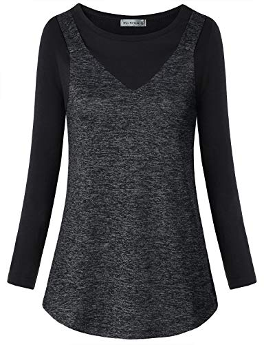 MISS FORTUNE Dri Fit Tops for Women Long Sleeve, Athletic Fitness Shirts Comfortable Climbing Tunic T-Shirts Active Aerobic Exercise Training Clothes Dark Gray-2XL