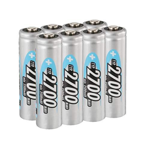 ANSMANN Akku AA 2700mAh NiMH 1,2V - Mignon AA Batterien wiederaufladbar, mit hoher Kapazität ideal für hohen Strombedarf wie Foto-Blitz, Taschenlampe, Controller (8 Stück)