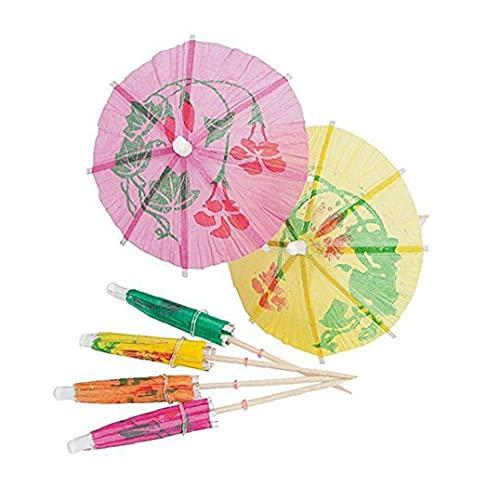 DierCosy Tools, púas de paraguas, sombrillas de cóctel tropical, paraguas de papel multicolor para decoración de fiestas de bebidas, 4 pulgadas, 144 Uds.