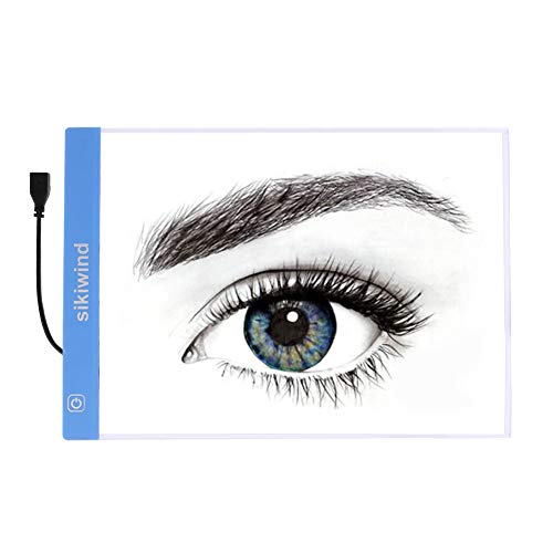 Led Light Box Dimmable Brightness SIKIWIND A4 Ultra-Thin Portable Tracing Light Box with USB Power Cable for 5D DIY Diamond Painting - Sketching - Artists Drawing and Animation etc(Blue)