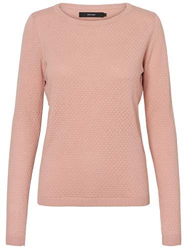 Vero Fashion NOS Vmcare Estructura LS Blusa O-cuello Suéter Noos, Rosa Misty Rose), 38 (Talla del fabricante: Small) para Mujer