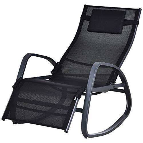 Outsunny Textilene Rocking Lounge Chair Zero Gravity Rocker Patio Adjustable Garden Outdoor Recliner Seat w/Pillow, Footrest - Black