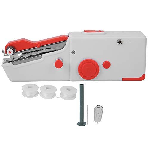 Draagbare naaimachine, mini naaimachineset draagbare handnaaimachine diy mini huishoudelijke elektrische steek handgereedschap kids naaimachine starter naaimachine(Rood)