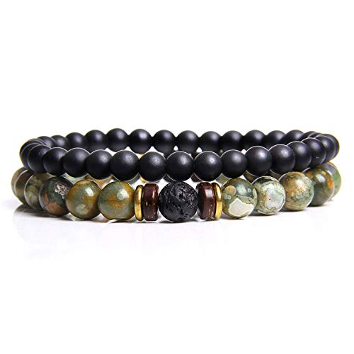 GROPC Beaded Bracelet,2Pcs Natural Handmade Unisex Black Agate Stone Set Fashion Couple Bracelets Bangles Classic Natural Lava Stones Charm 8Mm Beads Bracelet Women Men Gift(Green)