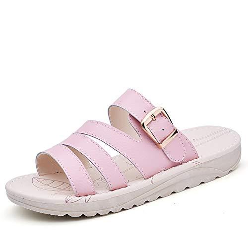 OJBK Sandalias Mujer para Mujer Chanclas Plataforma Peep Toe Flores Playa Boho Plataforma Sandalias para Caminar Casuales Punta Abierta Zapatos Verano para Mujer,Rosado,36