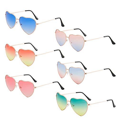 CHEPL 6 Pares Gafas Hippie Gafas de Sol en Forma de Corazón, accesorios de disfraz Marco Dorado Rosa,para Accesorio de Disfraz de Hippie ligeros y retro para mujeres y niñas, uso diario
