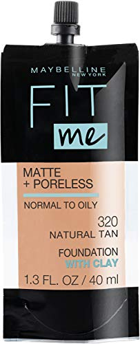 Maybelline New York Fit Me Matte + Poreless Liquid Foundation, Pouch Format, 320 Natural Tan, 1.3 Ounce