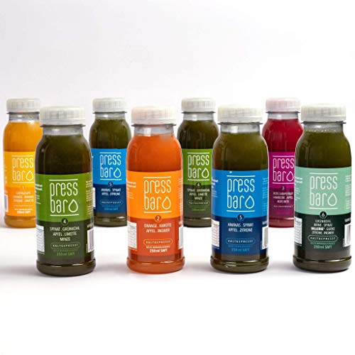 Test Paket | 1 Tag Saftkur von pressbar | Unsere Empfehlung | Kaltgepresste Säfte für Deine Kur | Hochwertige und Geschmacksintensive Obst & Gemüse Säfte | Achtung: Kühlware, nach Erhalt sofort kühlen