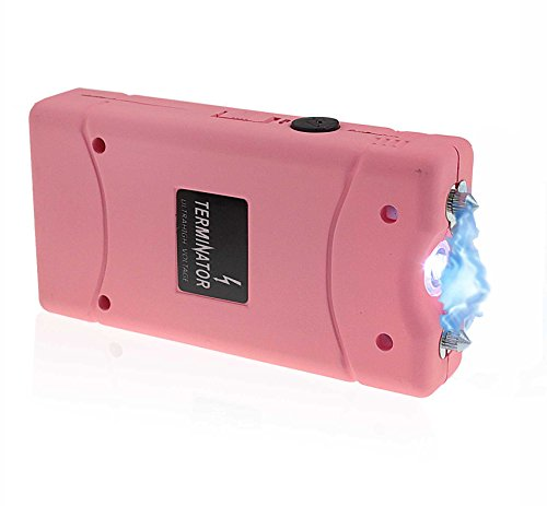 TERMINATOR Stun Gun with Flashlight Max Power Mini Rechargeable Reliable Stun Gun with LED Pink