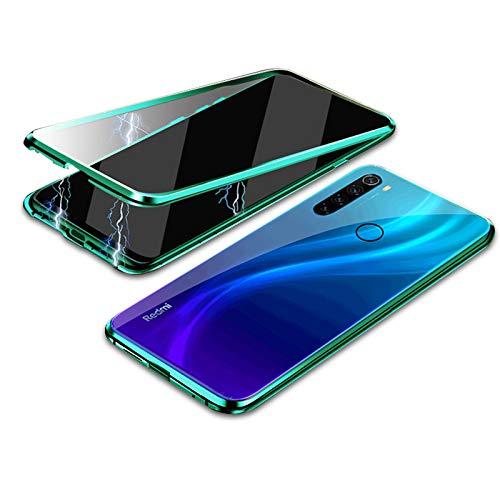 """EUDTH Capa Redmi Note 8, moldura de metal de adsorção magnética de corpo inteiro 360° Flip 9H vidro temperado [frontal e traseira] cobertura total da tela para Xiaomi Redmi Note 8 6,3"""" - Verde"""