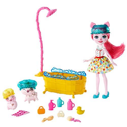 Enchantimals Baño Splash, con Muñeca Petya Pig y Sus Dos Mascotas Cerditos y Accesorios (Mattel...