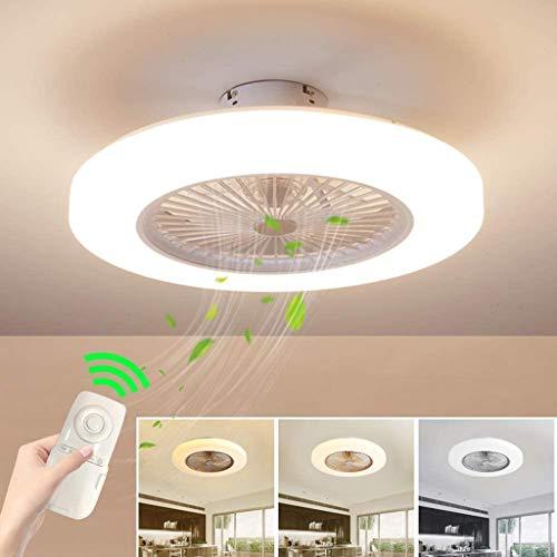 Zuivere koperen motor Plafondventilator met lamp 36W Creatieve onzichtbare ventilator LED-plafondlamp Afstandsbediening Dimbaar Ultrastil Tin Tijd Ventilatorlamp,White,58cm