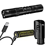 Nitecore P10 V2 1100 Lumen Tactical Flashlight with Hard Holster, 3400mAh USB Rechargeable Battery and LumenTac USB Cable