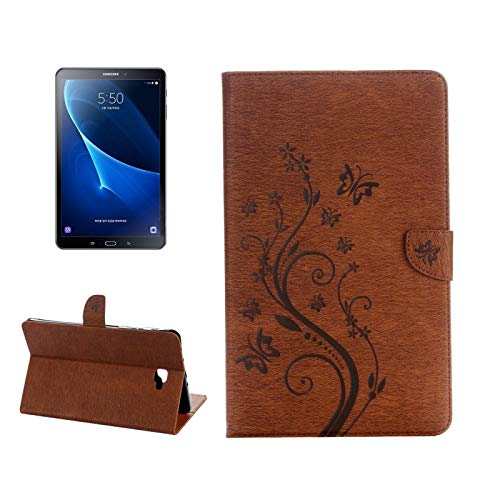 GLXC AYDD For Galaxy Tab A 10.1 Pressed Flowers Butterfly Pattern Horizontal Flip PU Leather Case with Magnetic Buckle & Holder & Card Slots & Wallet (Color : Brown)