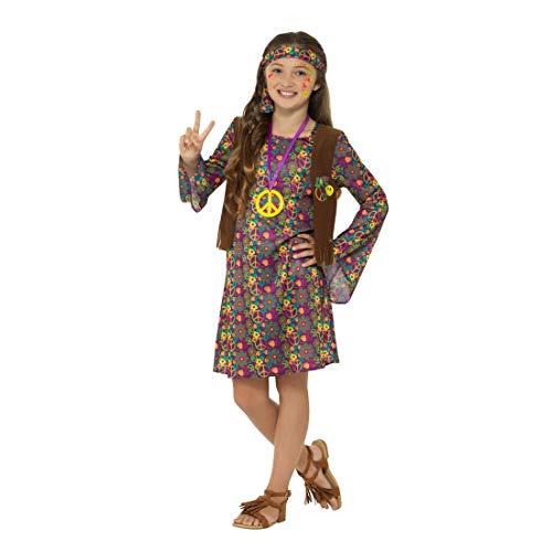 NET TOYS Hippie-Kleid Mädchen | Größe L, 10 - 12 Jahre, 145 - 158 cm | Hübsches Kinder-Outfit Blumenmädchen | Perfekt geeignet für Fasching & Karneval