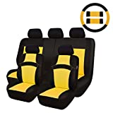 yellow and gray car seat cover - CAR PASS Rainbow Universal Fit Car Seat Cover -100% Breathable with 5mm Composite Sponge Inside,Airbag Compatible (14PCS, Yellow)