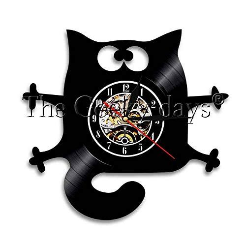 Usmnxo Lindo Gato Disco de Vinilo Reloj de Pared Mascota Gatito Reloj Creativo decoración del hogar Arte Regalo para Amantes de los Animales con luz LED 12 Pulgadas (30 cm)