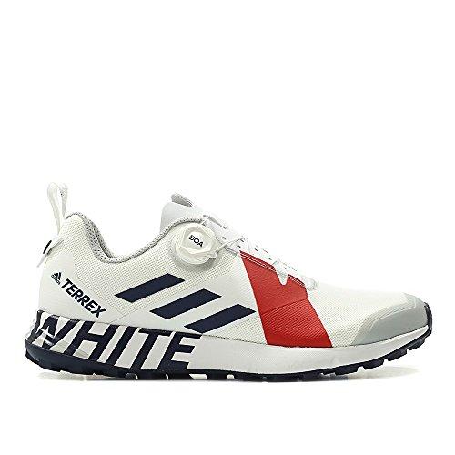 adidas Men White Mountaineering Terrex Two Boa White Collegiate Navy red Size 9.5 US