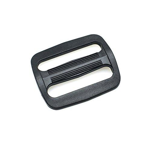 sacoora 12pcs 1-1/4 Plastic Curve Tri-Glide Slider Adjustable Buckle for Bags Webbing 30mm Black