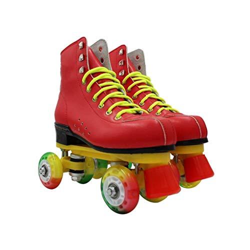 Taoke Roller Skates Frauen, klassisch Hoch-Spitze Vierrädrige Roller Skates for Männer und Frauen grelles Rad zweireihig Skates (Farbe: # 1, Größe: 37 EU) dongdong (Color : #1, Size : 37 EU)