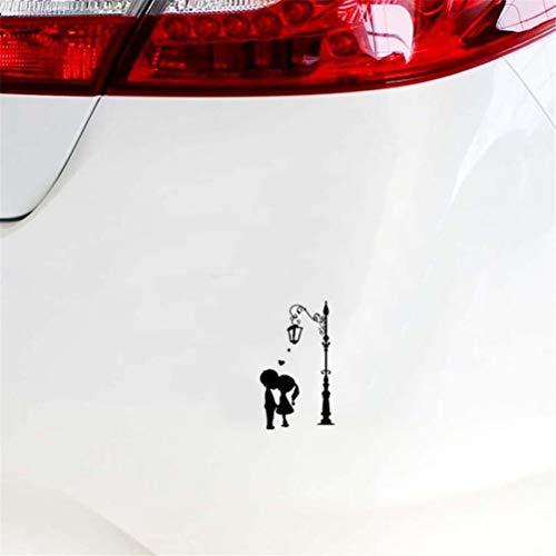 Autosticker, 9,1 cm x 15,6 cm, voor auto, laptop, raam, sticker, kussen, paar achter een lantaarn, liefde, romantisch