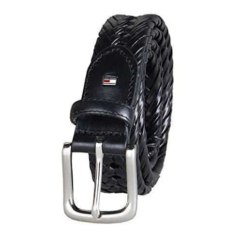 Tommy Hilfiger Mens Burnished Leather Handlaced 1 1/4 Inch Belt, Noir, 86,4 cm