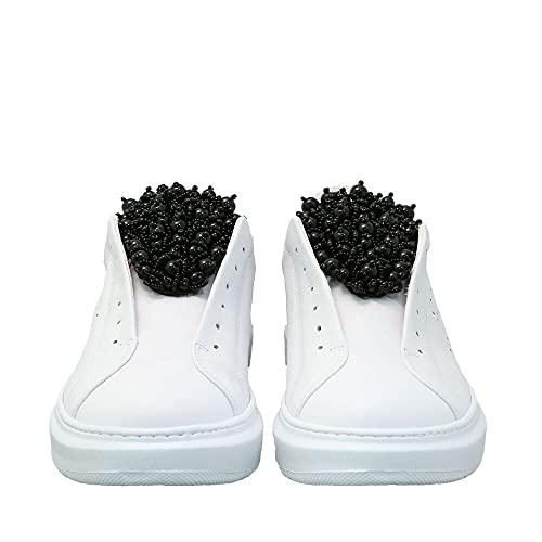 Tosca Blu Agata Sneaker Donna, Pelle, Bianco e Nero, 40 EU