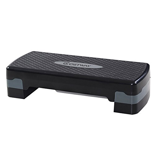 COSTWAY 27' Fitness Platform Aerobic Stepper with Risers-Adjustable from 4' to 6' Exercise Stepper Home Gym