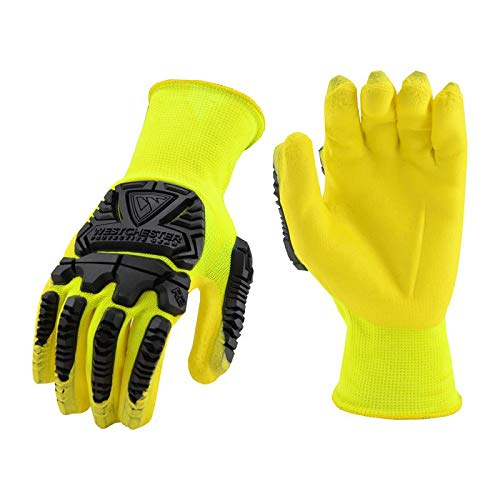 West Chester X-Large 13 Gauge Hi-Viz Yellow Foam Nitrile Palm And Finger Coated Work Glove With Hi-Viz Yellow Seamless Knit Nylon Liner, Knit Wrist And 7 mm Back Of The Hand TPR Impact Protection