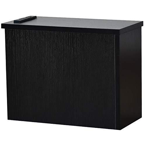 DORIS ケーブルボックス コンセント付き 電源タップ&ケーブル&ルーター収納 コーナータイプ 高さ30cm 幅39cm 奥行19cm ブラック チャコ コーナー