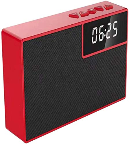 HAOHAO Wake Altavoz inalámbrico Bluetooth, LED portátil de Relojes 360 Manos Libres Altavoz Surround Inteligente teléfono Sencillo PM subwoofer Negro,Rojo