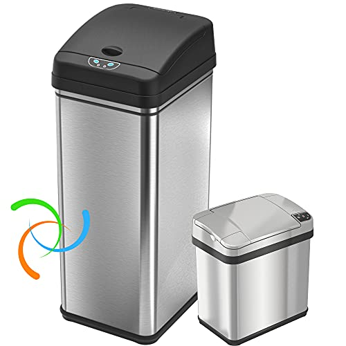 iTouchless Recycling 13 Gallon and 2.5 Gallon Sensor Trash Cans Bins for Kitchen and Bathroom, Odor Control System, 13, Stainless Steel (Set of 2), 2 Count